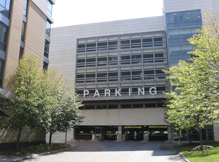 Easy access to parking at Midtown Crossing Apartments, Omaha, 68131