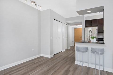 One bedroom unit entryway with kitchen and bar overlooking living room