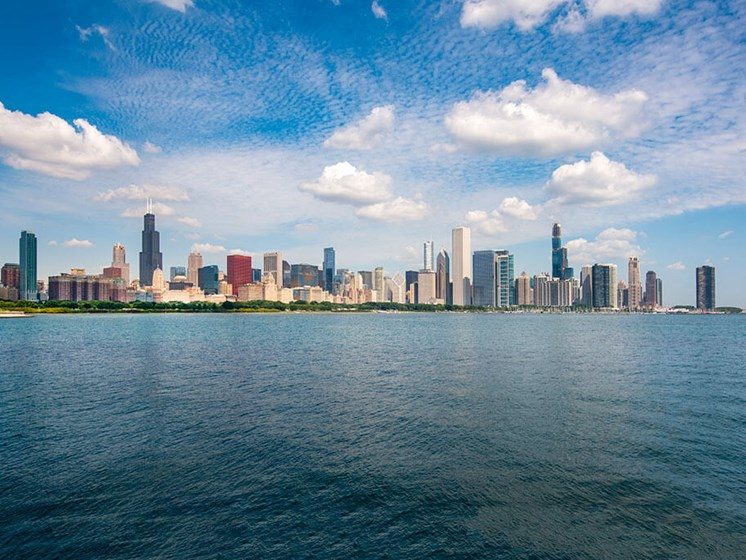 Full Chicago skyline view from Lake Michigan