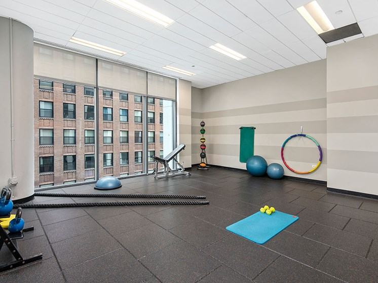 Yoga studio with floor-to-ceiling windows