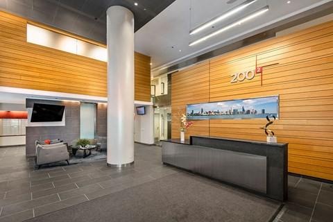 Main lobby for 200 Squared Apartments with concierge desk