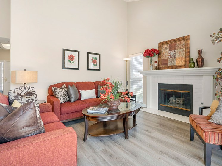 Living Room Remodel With Fireplace at Westmont Village, Riverside, California