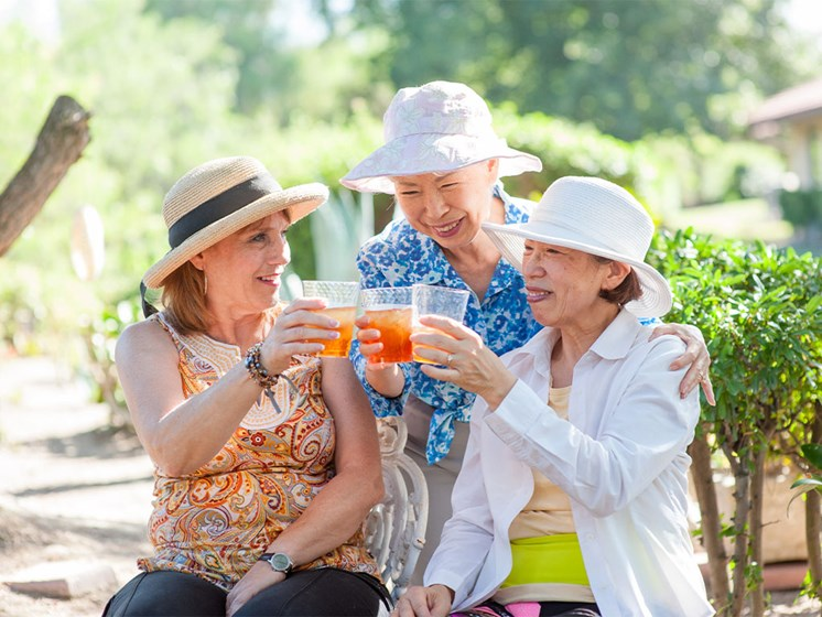 Seniors Toasting a Drink at Westmont Village, Riverside, CA
