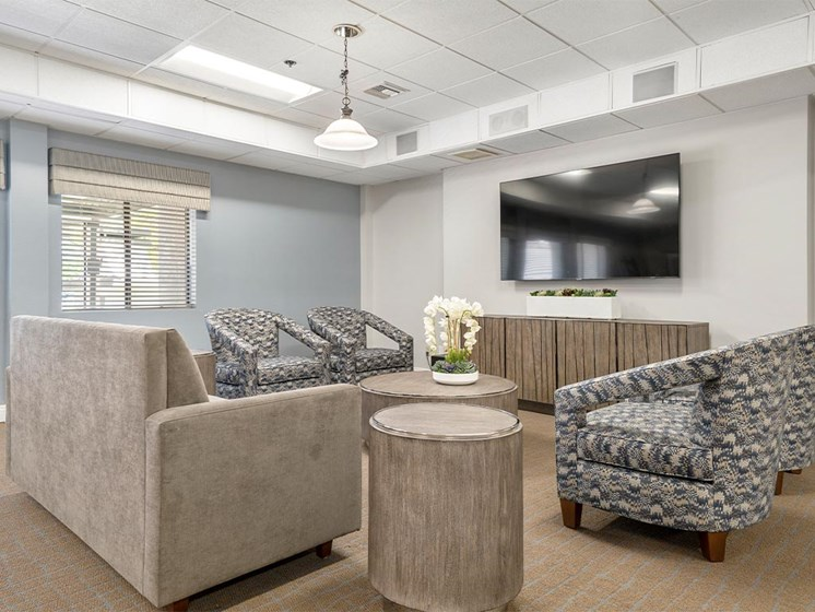 Living room with TV and Sofas at Westmont Village, Riverside, CA, 92518