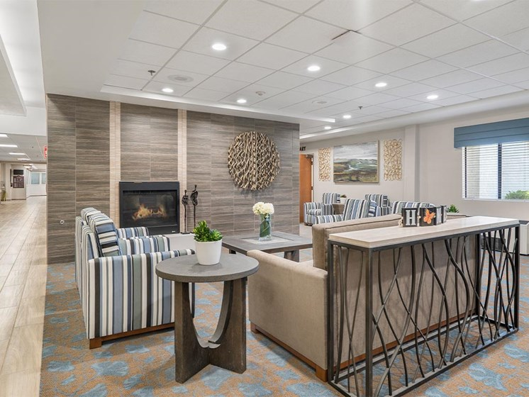 Living area interior with lights at Westmont Village, Riverside, California