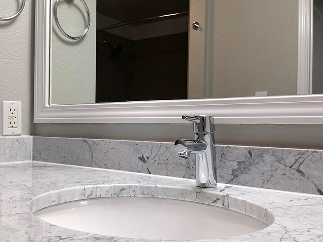 Marble Countertop and stainless steel fixtures
