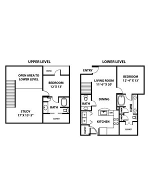 Big Bend Floorplan - 2 bed, 2.5 bath, 1,421 square feet.