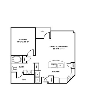 Mockingbird Floorplan - 1 bed, 1 bath, ranging 824 square feet.
