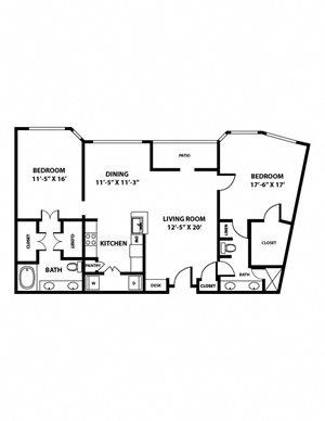 Republic Floorplan - 2 bed, 2 bath, 1,395 square feet.