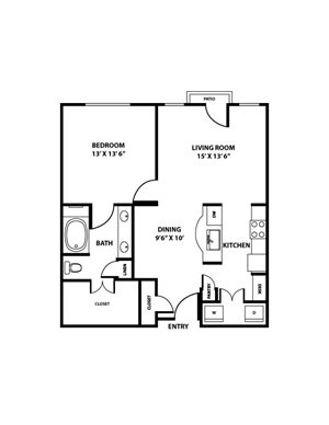 Rio Grande Floorplan - 1 bed, 1 bath, ranging 860 square feet.