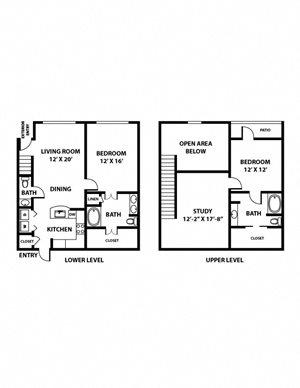 Stephen F Austin Floorplan - 2 bed, 2 bath, ranging 1,421 to 1,427 square feet.