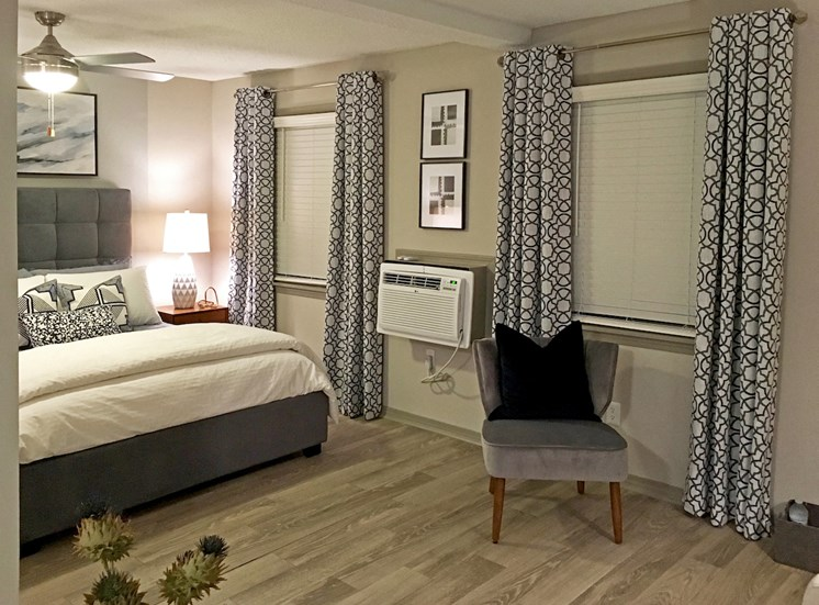 Newly updated studio bedroom at VUE at Rocket City Apartments in Huntsville