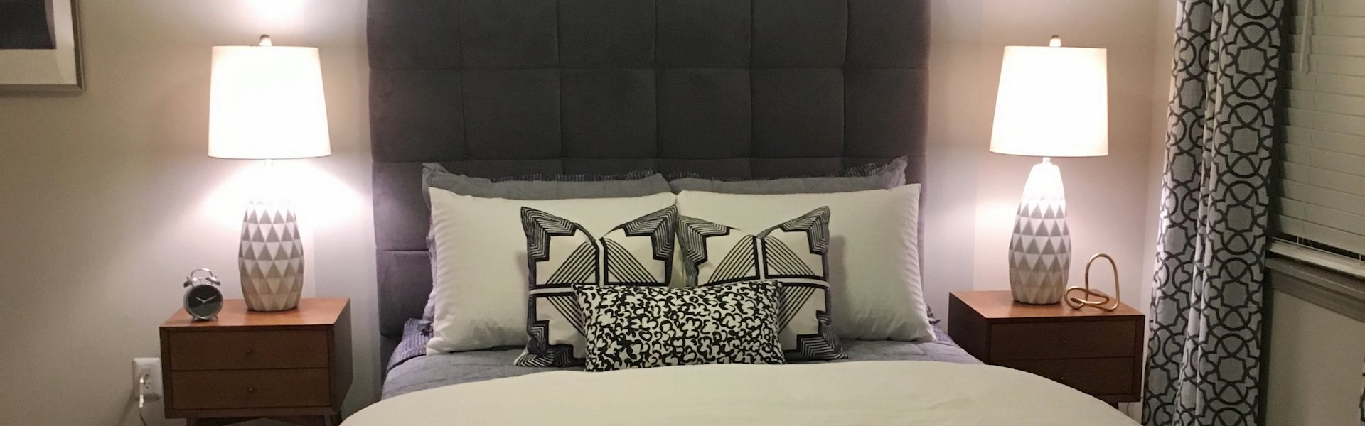 Newly upgraded studio bedroom at Tara Garden Apartments in Huntsville, AL