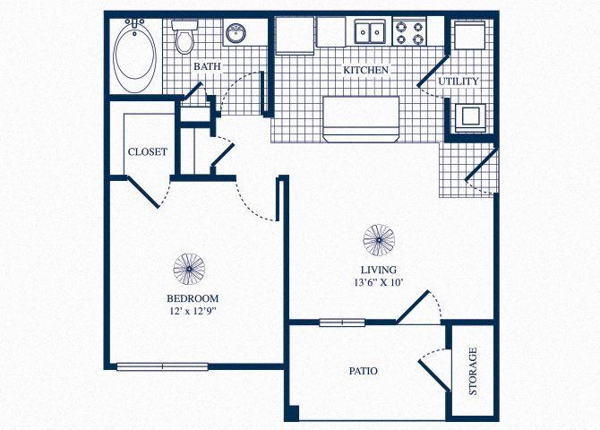 A1 floorplan at Tivoli Apartments in Dallas, Texas