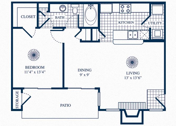A2 floorplan at Tivoli Apartments in Dallas, Texas