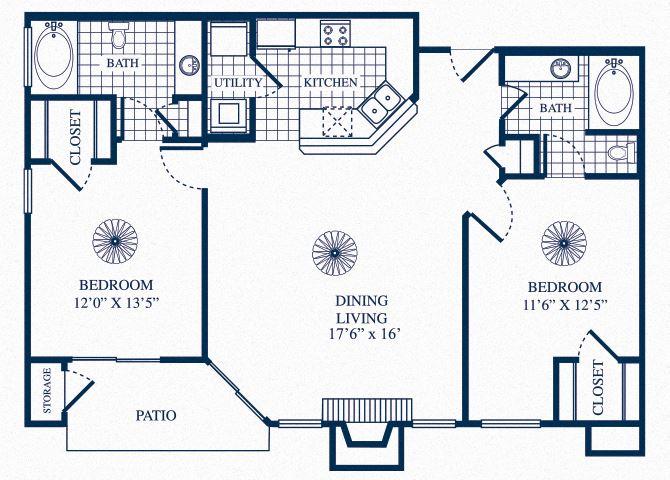 B1 floorplan at Tivoli Apartments in Dallas, Texas