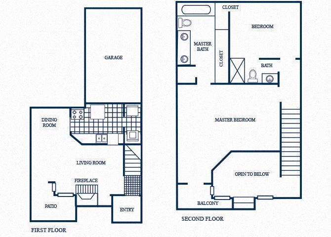 TH2 floorplan at Tivoli Apartments in Dallas, Texas