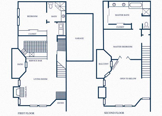 TH4 floorplan at Tivoli Apartments in Dallas, Texas