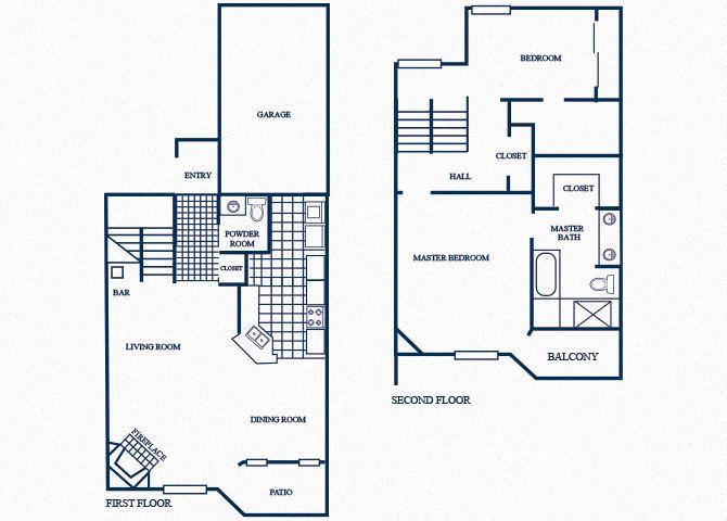 TH5 floorplan at Tivoli Apartments in Dallas, Texas