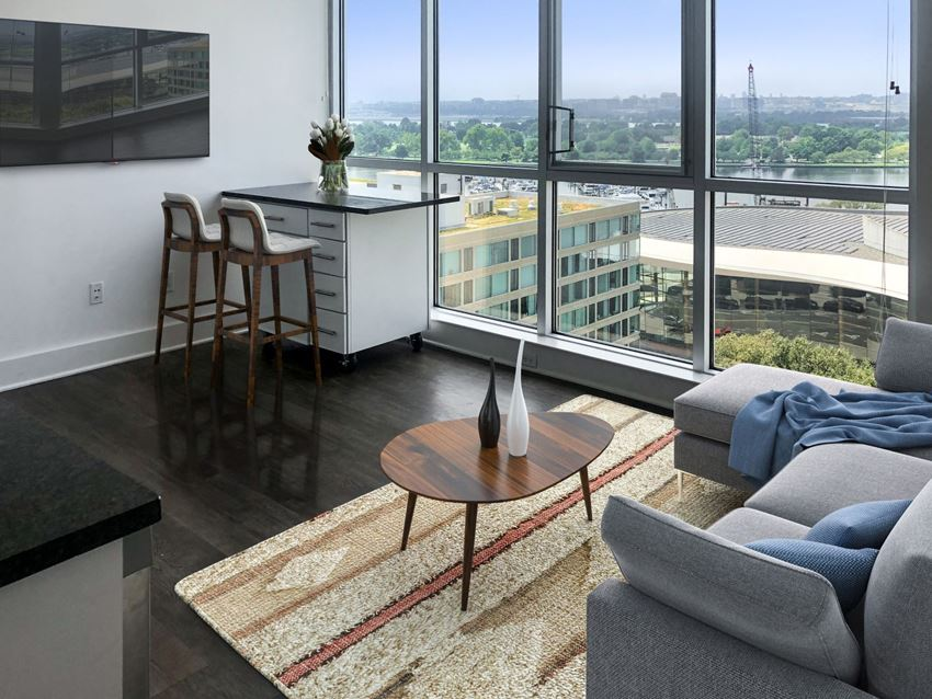 Apartment living room at the Lex