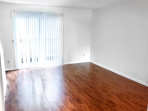 Empty living room interior with vinyl plank flooring and sliding door