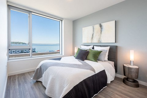 Master Bedroom Views of Seattle's Central Waterfront at 10 Clay Apartments in Seattle, WA