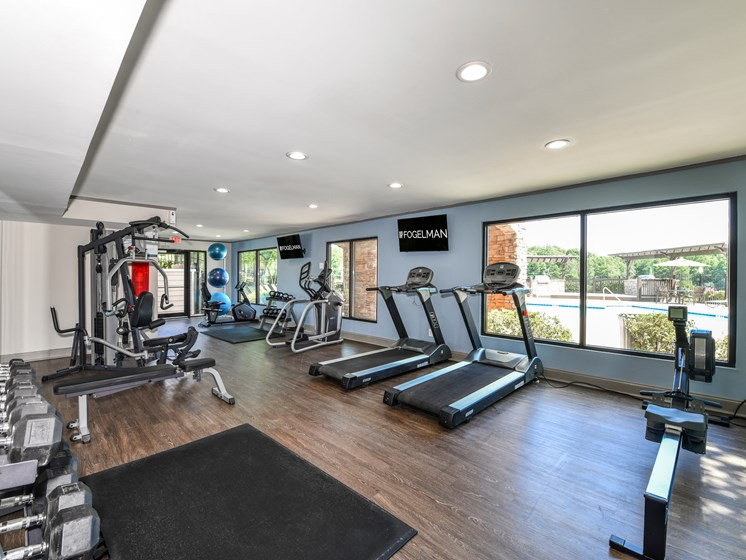Renovated fitness center with modern fitness equipment at Lakeside at Arbors Place in Douglasville, GA 30135