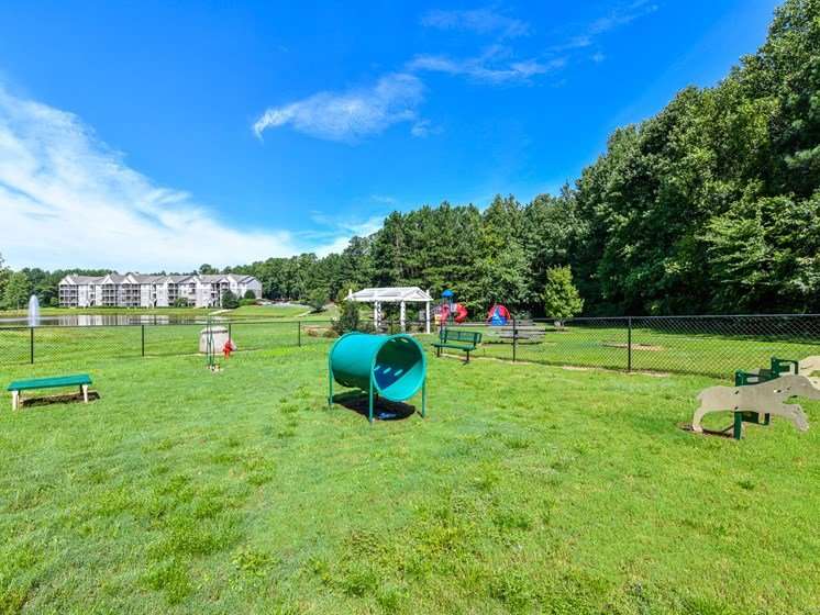 Recreational pet park for your furry friends at Lakeside at Arbor Place apartment homes in Douglasville, GA 30135
