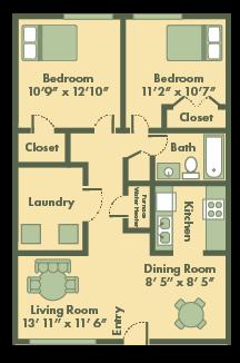 2 bedroom apt floor plan