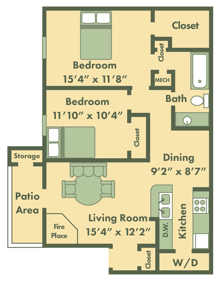 2 bed apt floor plan