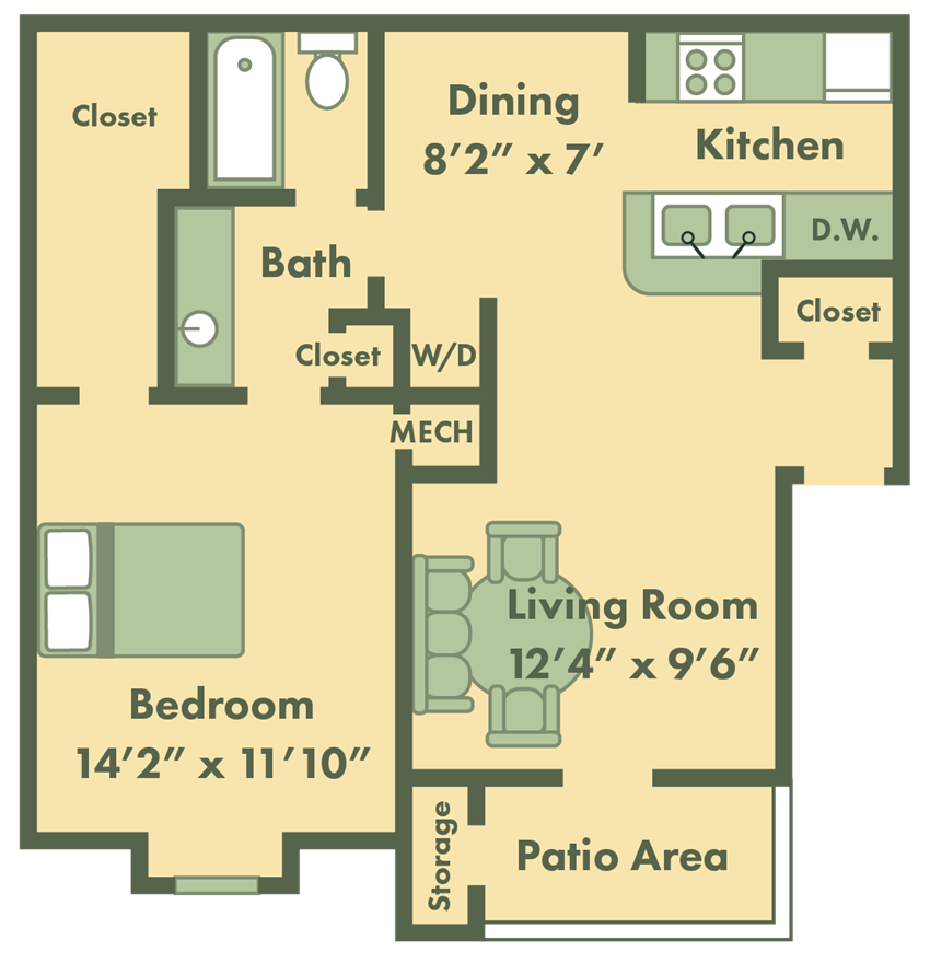 1 bed apt floor plan