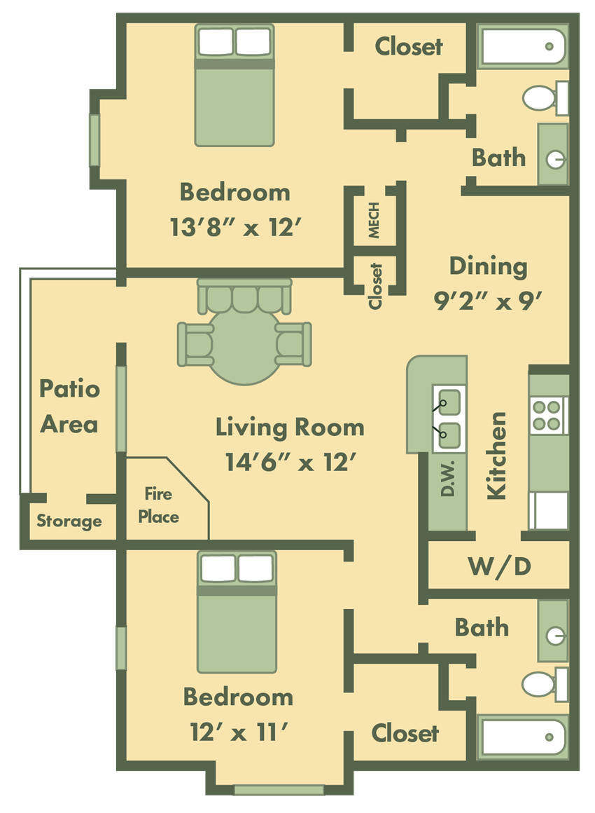two bed apt floor plan