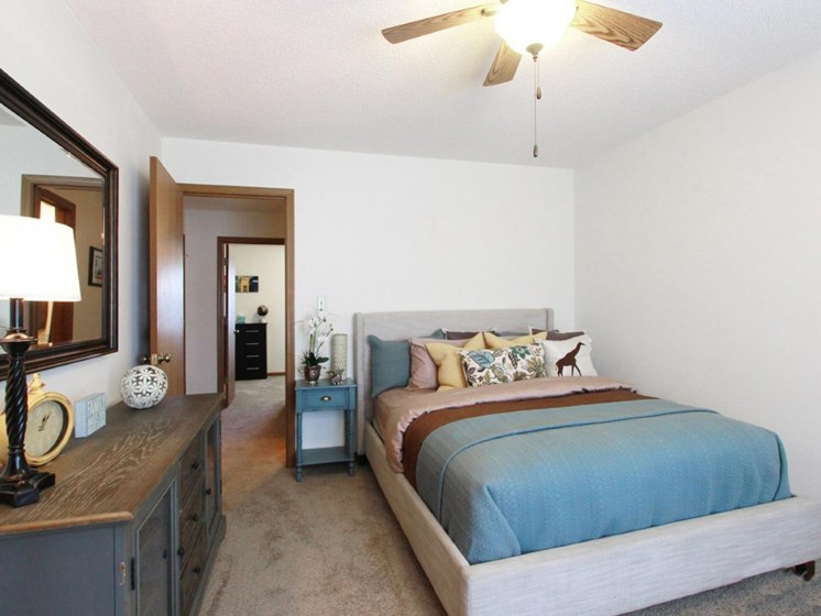 Spacious master bedroom at Villa West Apartments in Southwest Topeka, KS