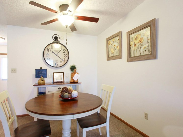 Spacious dining area at Villa West Apartments in Southwest Topeka, KS
