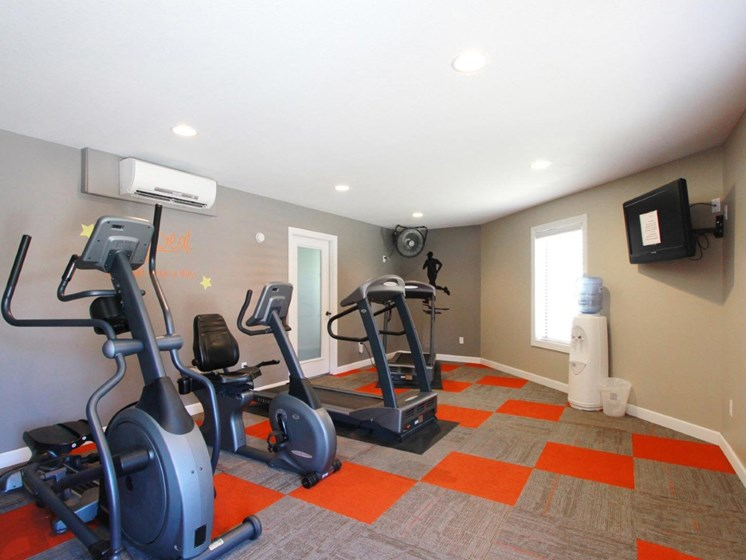 24-Hour fitness center at Villa West Apartments in Southwest Topeka, KS