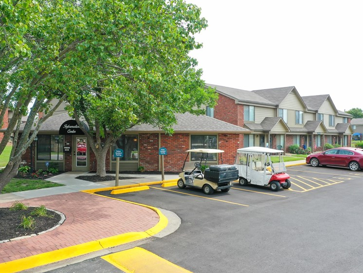Tour our beautiful community on our cart at Villa West Apartments in Southwest Topeka, KS!