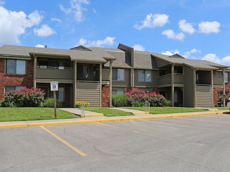 Plentiful parking at Villa West Apartments in Southwest Topeka, KS