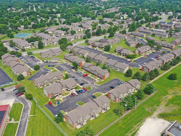 Aerial view of our large community Villa West Apartments in Southwest Topeka, KS!