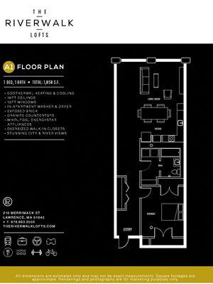 1 Bed 1 Bath A1 FloorPlan at Riverwalk West, Lawrence, 01843