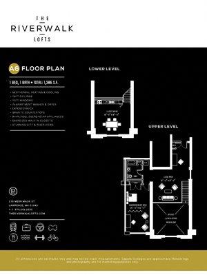 1Bed1Bath A6 FloorPlan at Riverwalk West, Lawrence, MA, 01843