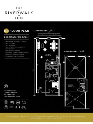 2Bed1Bath B3 FloorPlan at Riverwalk West, Lawrence, MA, 01843