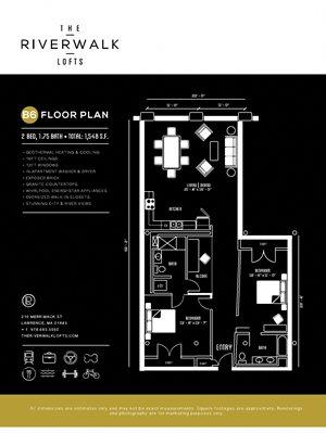 2Bed1Bath B6 FloorPlan at Riverwalk West, Lawrence, MA