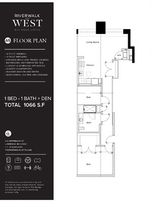 1 Bed 1 Bath A5W FloorPlan at Riverwalk West, Massachusetts