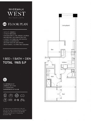 1 Bed 1 Bath A6W FloorPlan at Riverwalk West, Massachusetts, 01843