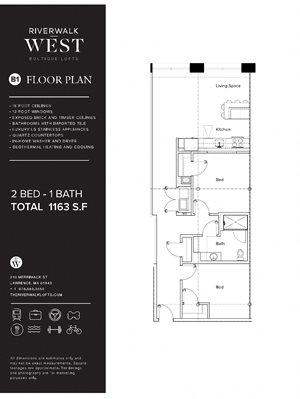 2 Bed 1 Bath B1W FloorPlan at Riverwalk West, Lawrence, MA, 01843