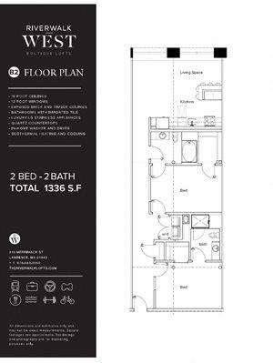 2 Bed 2 Bath B2 FloorPlan at Riverwalk West, Lawrence, MA