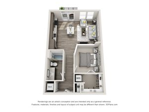 The Alpha 3D Floorplan with 1 Bedroom, 1 Bath and Open Kitchen and Living Room Concept
