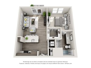 The Bravo 3D Floorplan with 1 Bedroom, 1 Bath, Kitchen with Pantry and peninsula Island and open to the Living Room Area