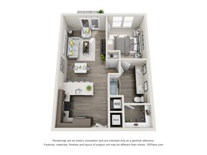 The Delta 3D floorplan with 1 Bedroom, 1 Bath. Kitchen with Pantry and peninsula Island and Bar Area. Open to Dining and Living room area.
