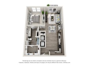 The Echo 3D with 1 bedroom, 1 bath. Kitchen with L shaped countertops open to Living room area